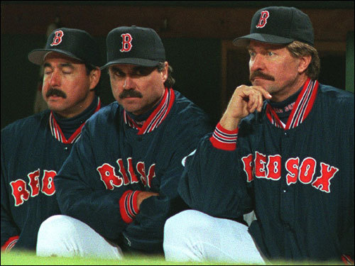The Red Sox dugout, including pitching coach Al Nipper, bench coach Tim Johnson, and manager Kevin Kennedy saw quite enough of the Cleveland Indians during Game 3.