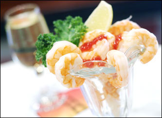 Springing for the jumbo shrimp cocktail at the Golden Gate will set you back only $2.99.