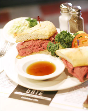 An au jus beef sandwich from the Golden Gate.