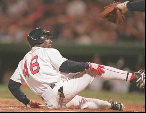 Dwayne Hosey looked back at Indians catcher Sandy Alomar (not shown) after getting knocked down in the first inning of Game 3. Hosey then struck out.
