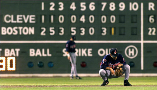 Indians shortstop Omar Vizquel's body language and the numbers on the Green Monster in the bottom of the eighth inning told the story of the Red Sox win in Game 4.