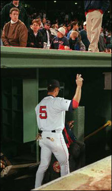 Nomar Garciaparra, the last player to leave the dugout following the Red Sox season ending loss to the Cleveland Indians in Game 4, waved goodbye to some cheering fans as he headed down the runway to the offseason. Nomar homered off Bartolo Colon in the fourth inning for the only Sox run of the game as they lost 2-1.