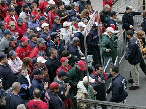 Fans entered through the Yawkey Way gate two hours before game time.
