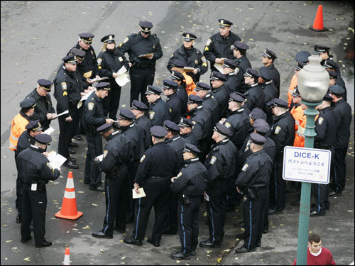Boston Police officers gathered outside Fenway prior to Game 1 of the ALCS.