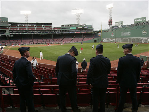 Members of the Hanscom Air Force Base Electronic System Center were part of the opening ceremonies for first game of the ALCS.