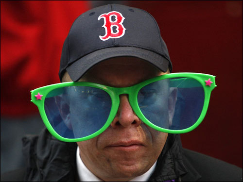 A Red Sox fan posed prior to the start of Game 1 of the ALCS.