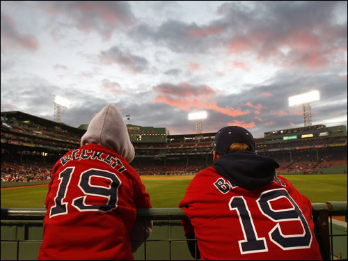Red Sox fans looked on before Game 1 of the ALCS.