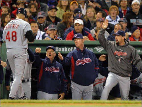 Cleveland Indians slugger Travis Hafner (left) celebrated with teammates as he walked to the dugout.