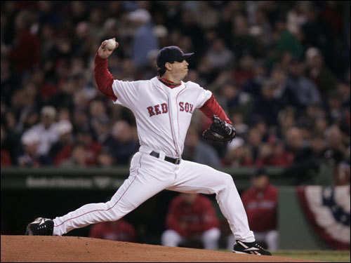Josh Beckett struck out the first two Indians he faced in the game.