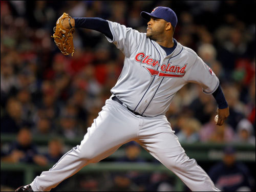 Indians starter C.C. Sabathia delivered a pitch in the first inning.