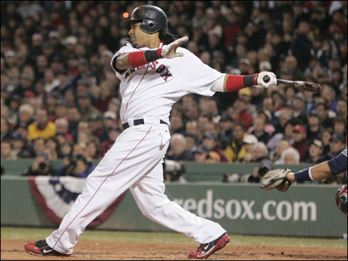 Manny Ramirez followed through on his RBI single.