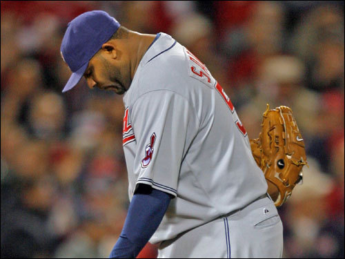 C.C. Sabathia reacted to giving up the game's first run.