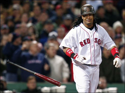 Manny Ramirez dropped his bat after walking in a run in the sixth inning.