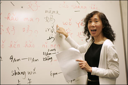 At the Cambridge Center for Adult Education, Jin Li teaches Chinese, ...