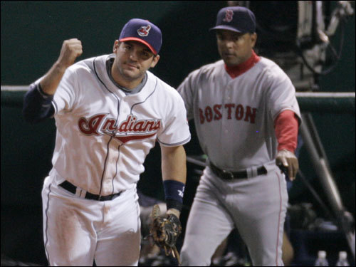 Indians first baseman Ryan Garko reacted to an inning-ending doubleplay in the top of the first.