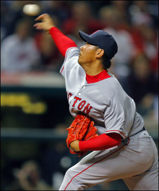 Matsuzaka retired the side in order in the first, striking out the last two batters.