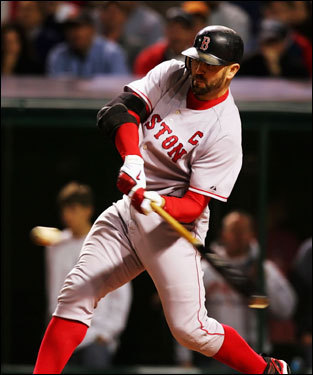Jason Varitek popped out with the bases loaded in the second inning.