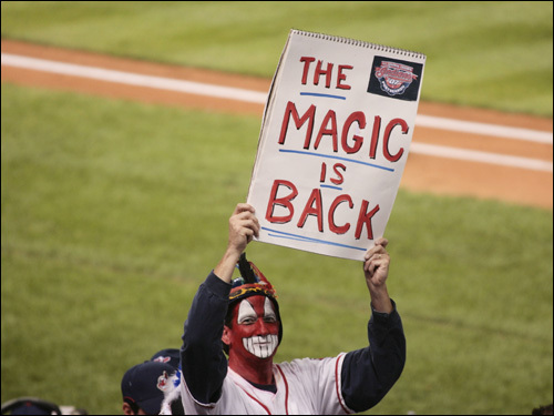 A Cleveland fan holds up a sign.