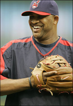 C.C. Sabathia laughs with his teammates during practice before Game 4 of the ALCS.