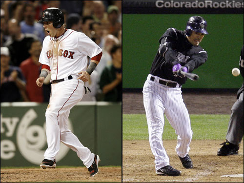 Dustin Pedroia had a slow start at the plate in the ALCS, but he roared back with seven hits in 13 at bats in the final three games, including a five-RBI effort in Game 7. The surge boosted his overall postseason batting average to .286. The Rockies' Kazuo Matsui has finally bloomed after leaving the Mets, with a .310 batting average in the postseason complemented by eight RBIs. He thrives at Coors Field; his OPS there is over 200 points higher than it is on the road.