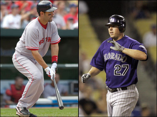 Mike Lowell has been scorching hot for the Red Sox in the postseason, batting .333 with 11 RBIs, eight of them coming in the ALCS. He is the only Red Sox player to have hit a home run against Colorado this year. Garrett Atkins turned in a big year for the Rockies, with 25 homers and 111 RBIs. He has fizzled, though, in the playoffs, batting just .185 with one RBI.