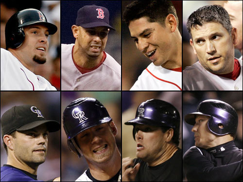 The Red Sox bench contributed sparingly in the ALCS; Bobby Kielty drove in two runs in five at bats, and Doug Mirabelli handled the knuckler well. Coco Crisp will likely join the group and be a speedy pinch-runner and late-inning defensive replacement. The Rockies can get big things out of several bench players, including Jeff Baker (two hits in three playoff ABs) and Seth Smith (three hits and runs in the playoffs).