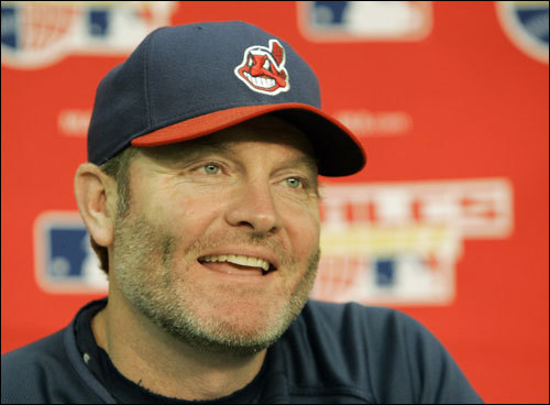 Cleveland Indians manager Eric Wedge laughs during his news conference before Game 4 of the ALCS.