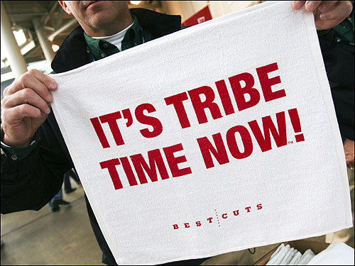 Rally towels with 'It's Tribe time now!' were handed out before the game. During Monday night's game, Indians fans twirled the towels in support of the home team.