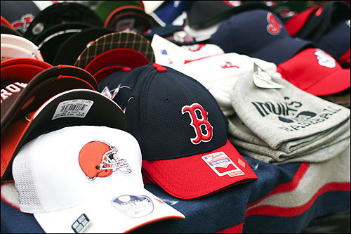 A lone Red Sox hat was for sale outside the park among apparel for Cleveland teams such as the Browns and Indians.
