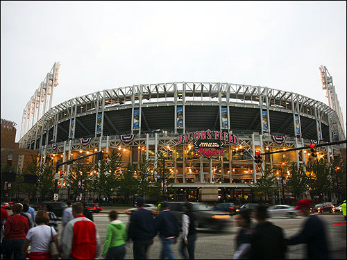 Fans were abuzz outside the entrance to Jacobs Field in Cleveland before Game 4.