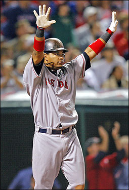 Despite being down by quite a few runs, Manny Ramirez did a little showboating when he watched his home run leave the yard in the sixth inning.
