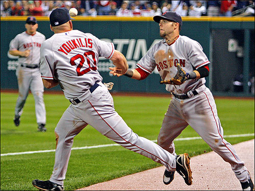 Youkilis (left) and Pedroia collided and Youkilis dropped a fifth-inning foul ball from Asdrubal Cabrera that helped keep the frame alive for Cleveland.