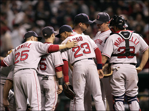 The Red Sox conferenced at the mound in the fifth inning.