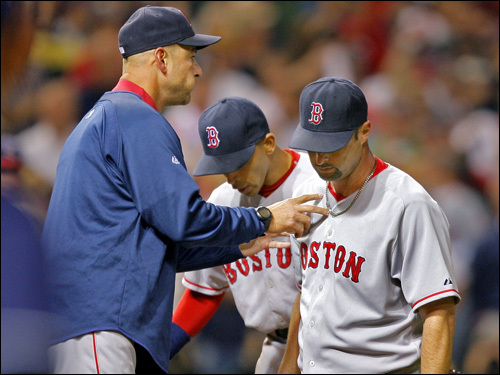 Red Sox manager Terry Francona came out to relieve starter Tim Wakefield in the fifth.