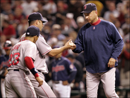 Tim Wakefield handed the ball over to manager Terry Francona after being unable to get out of the fifth inning.
