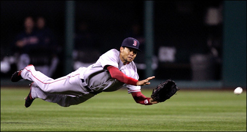 Coco Crisp dove, but could not corral a Casey Blake single that scored Kenny Lofton in the fifth inning.