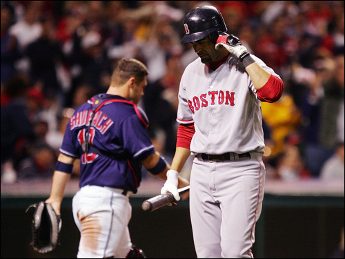 Mike Lowell reacted after fouling out to the catcher in the ninth inning.