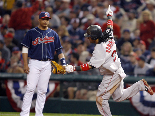 Manny Ramirez celebrated his home run as he rounded first base.