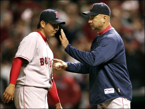 Should the Sox win Games 5 and 6, it'll all be on the shoulders of Daisuke Matsuzaka in Game 7. Does that make anyone else nervous? Dice-K hasn't made it out of the fifth inning in either of his postseason starts. You can expect Terry Francona to have an early hook with Dice-K, who worked with Curt Schilling on Tuesday, again in Game 7 should he struggle, with Jon Lester and potentially Tim Wakefield available in a pinch.