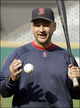 Boston Red Sox manager Terry Francona looks on during practice.