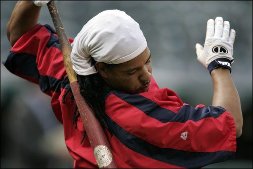 Manny Ramirez prepares for batting practice during the Red Sox workout at Jacobs Field on Wednesday.