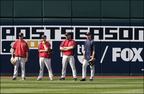 (From left to right) Don Kalkstein (Performance Enhancement Counselor), Dustin Pedroia, Kevin Youkillis, and Jacoby Ellsbury are hoping that the post season lasts longer than Thursday night.