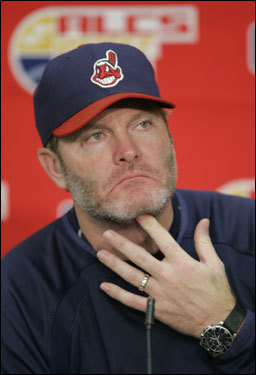 Cleveland Indians manager Eric Wedge listens to a question during a news conference Wednesday, Oct. 17, 2007, in Cleveland.