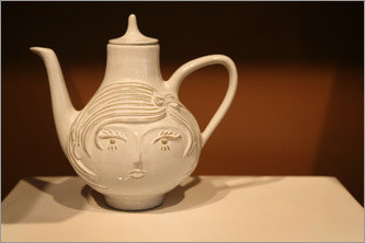Jonathan Adler's Utopia teapot at Motley Home, a super-hip home decor store on Tremont Street.