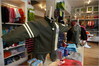Kiwi Baby, on Washington Street, is a two-level shop that offers apparel, furnishings, toys, and even baby strollers.