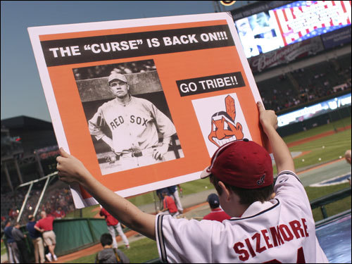 An Indians fan held up a sign prior to the game.