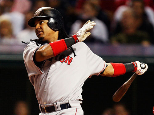 Manny Ramirez watched the flight of his double in the first inning.