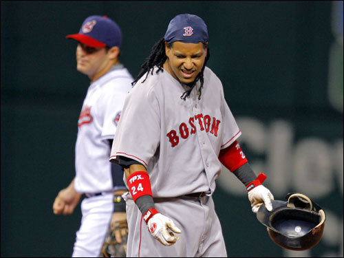Manny Ramirez reacted to being tagged out to end the top of the first inning.