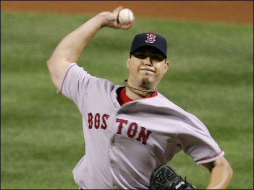 Red Sox starter Josh Beckett took the hill for Boston in Game 5.