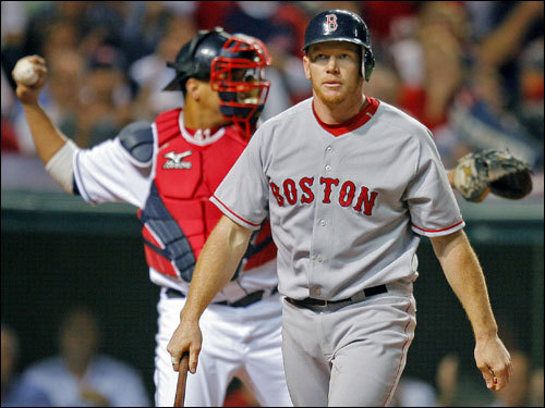 Red Sox right fielder Bobby Kielty reacted to striking out to start the second inning.